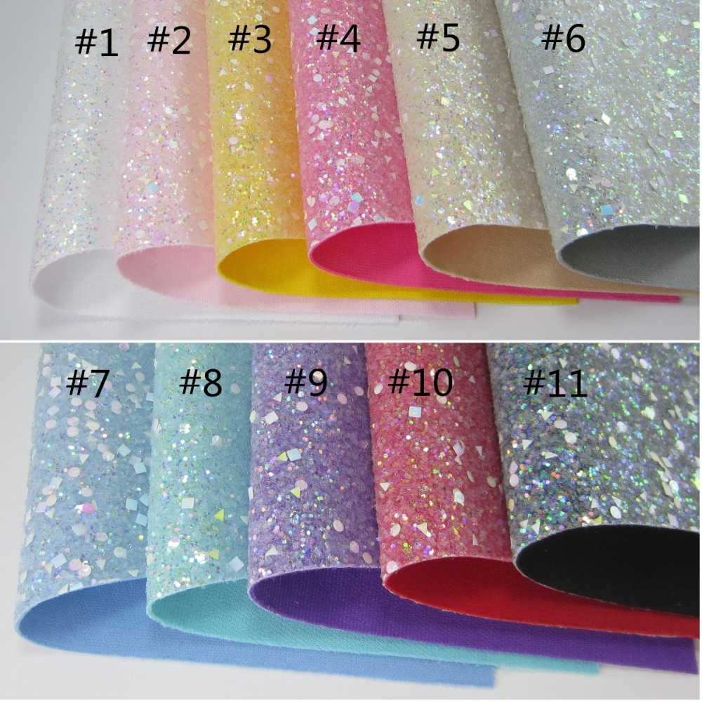 30cmx134cm Chunky Glitter Fabric Leather With Same Color Back 2019 New Arraiv For Bows  Decorations AY268