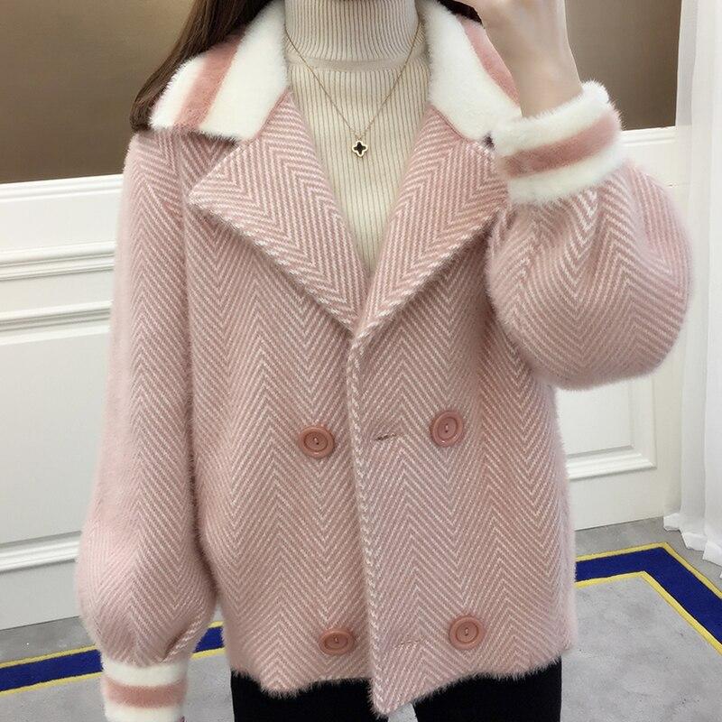 pink Col Chandail Chaud 2019 Lq077 Black Veste Nouveau Lâche khaki Courte Carré blue Décontracté Femmes Cardigan Solide De Couleur Hiver xwYTCFqY