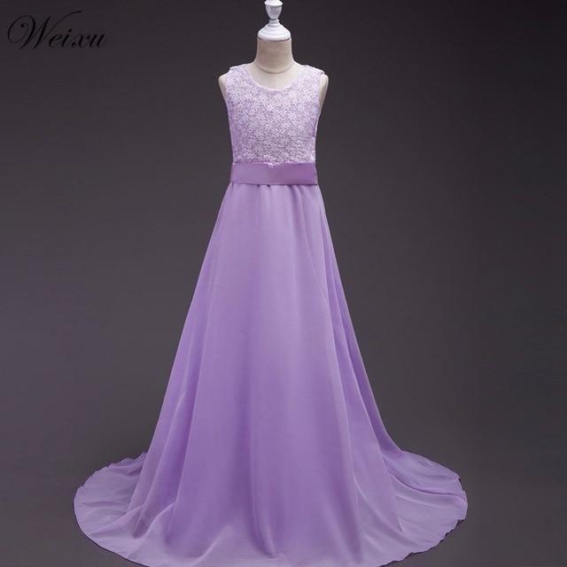 a48352723e7fc Weixu fille robes enfants violet longue robe de bal enfant princesse robes  de fête de mariage