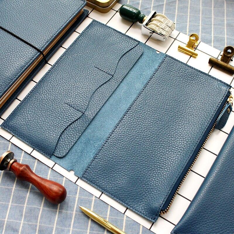Fromthenon litchi grão viajantes de couro notebook saco de cartão de armazenamento para midori viajante notebook vintage retro acessórios