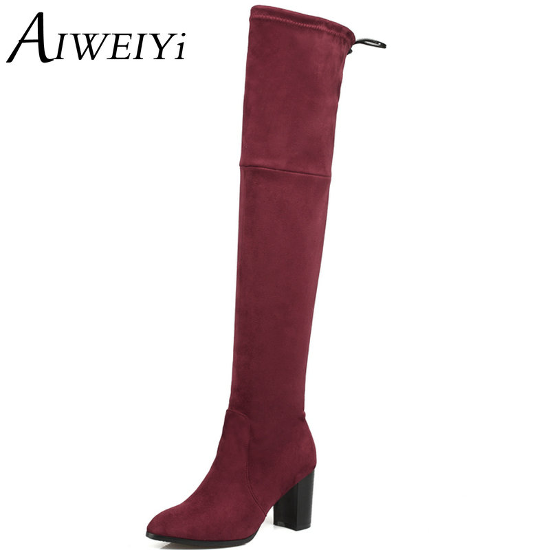 AIWEIYi 2017 New Women Suede Fashion Over the Knee Boots Sexy Square High Heel Boots Platform Woman Shoes Black Red size 34-43 new 2014 flock suede high heel women boots brand over knee high heel boots for women fashion designer women shoes
