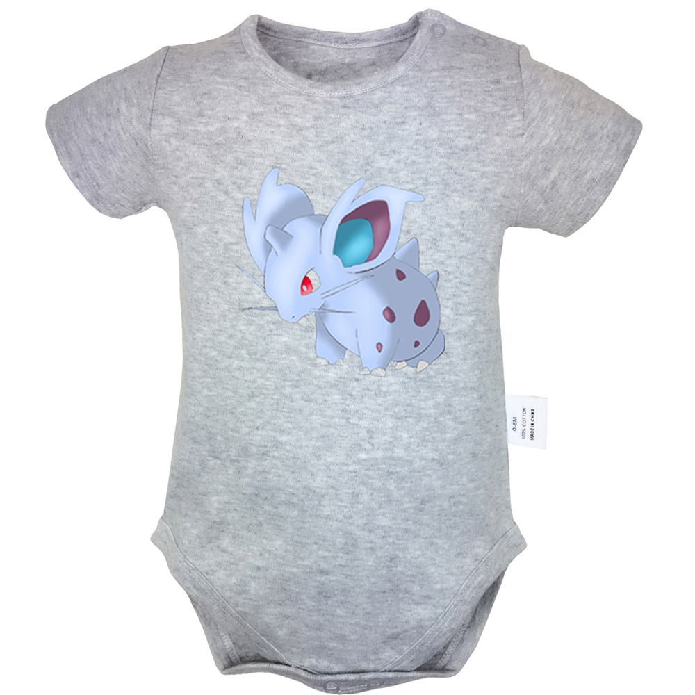 Pokemon Nidoran Ponyta Don't Touch Me Prairie Wolf Design Blue Newborn Baby Bodysuit Suit Toddler Onsies Jumpsuit Cotton Clothes