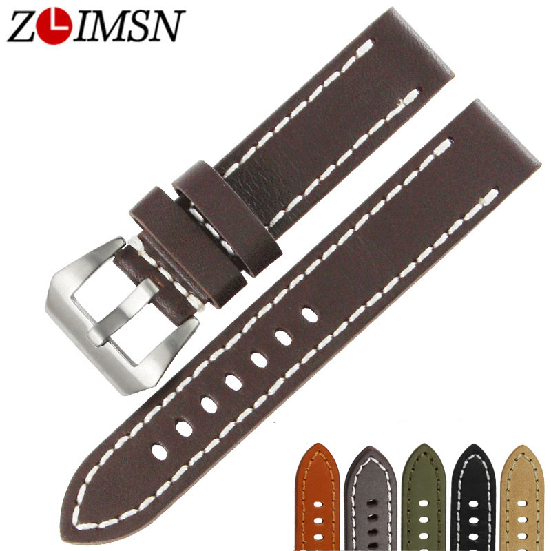 ZLIMSN Thick Watch Belt Genuine Leather Watchbands 20mm 22mm 24mm 26mm Bands Silver Buckle Watches Accessories Relojes Hombre zlimsn thick genuine leather watch band 20 22 24 26mm strap belt replacement stainless steel skull buckle relojes hombre