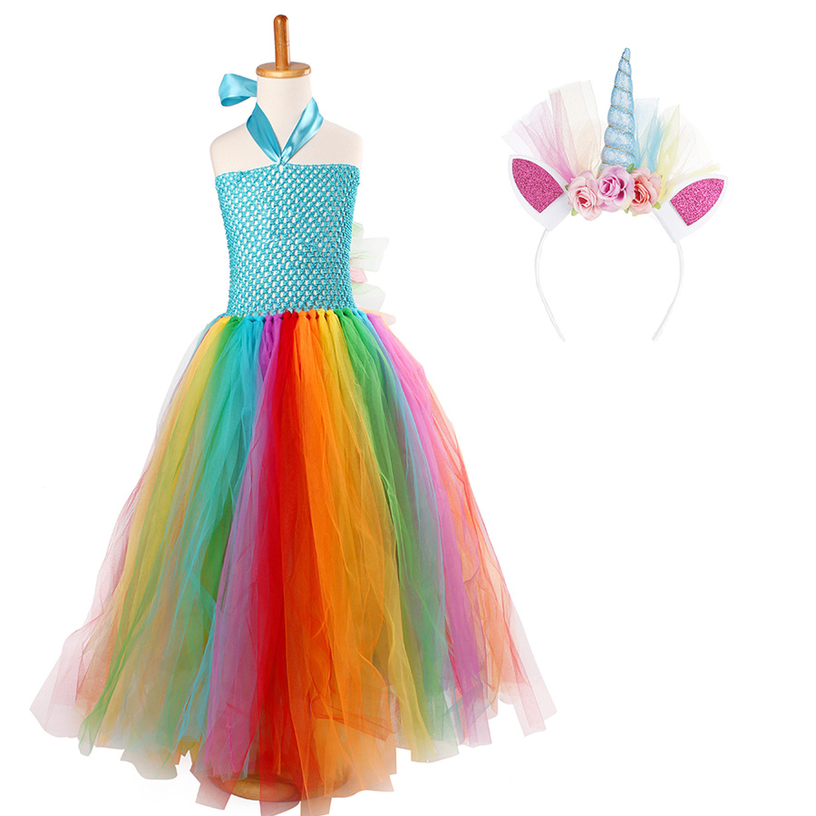 Fluffy Rainbow Dash Girls Tutu Dress with Headband Princess Kids Pony Birthday Party Tutu Dress Girl Halloween Carnival Costume (10)
