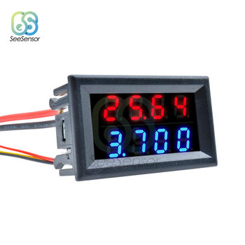 цена на 0.28 Inch Digital DC Voltmeter Ammeter 4 Bit 5 Wires DC 0-100V 10A Voltage Current Meter Power Supply Red Blue LED Dual Display