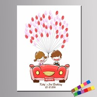 Custom Fingerprint Kid Birthday Car Names And Date Signature Guestbook For Baby Show Birthday Home Decor