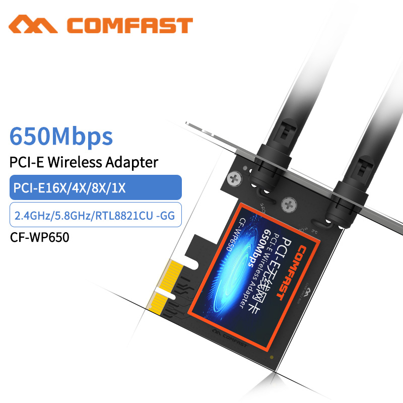 Comfast Dual Band Wireless-AC Desktop PCI-E 650Mbps 802.11ac 2.4G/5Ghz WiFi PCI Express Wireless WiFi Adapter For Winow 7/ 8 /10