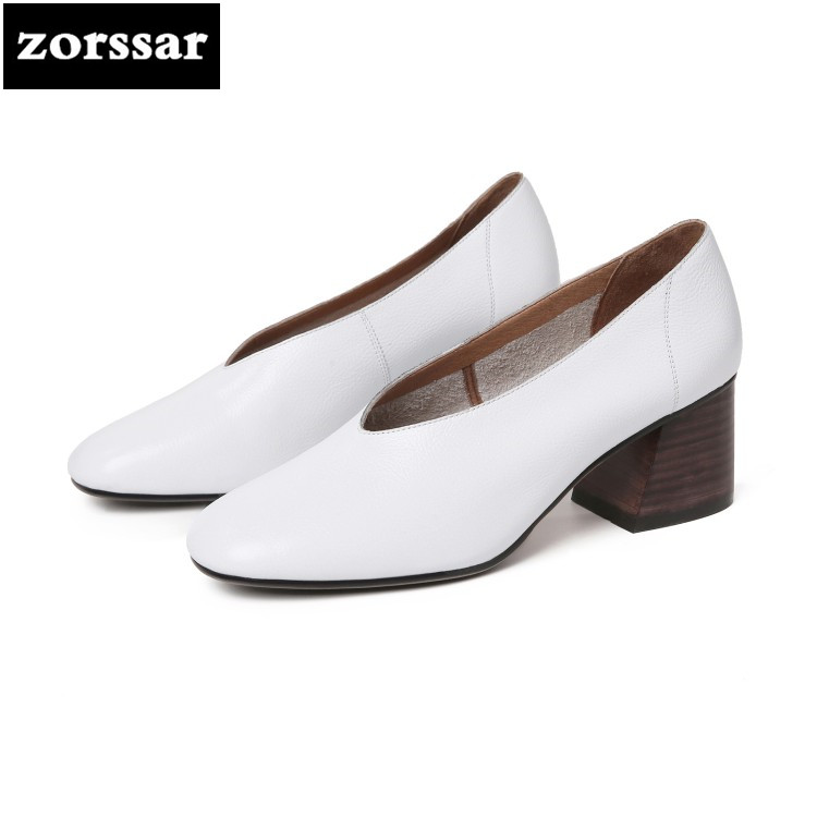 {Zorssar} 2018 NEW fashion Leisure Soft leather womens shoes heels Slip on Round toe High heels pumps ladies Grandma shoes zorssar 2018 new fashion buckle genuine leather thick heel womens shoes heels square toe high heels pumps ladies office shoes