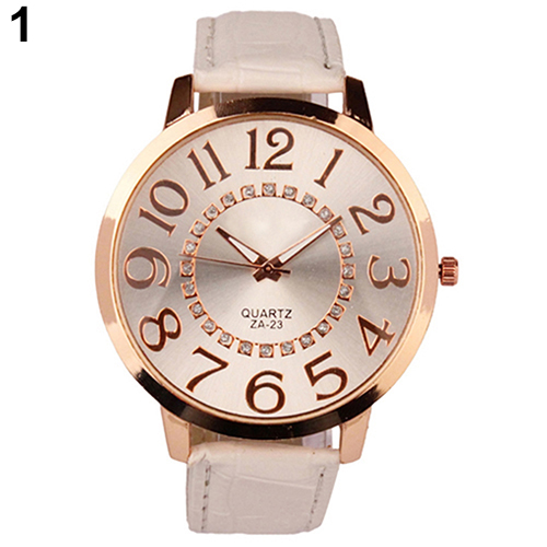 Men's Women's Roman Design Big Numerals Rhinestone Dial Faux Leather Quartz Analog Wrist Watch 93XN faux leather roman numerals quartz watch