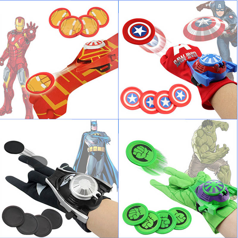 24cm Batman Glove Action Figure Spider Iron Man Hulk Captain American Launcher Toy Kids Suitable Spider Man Cosplay Costume toys 6pcs set the action figures batman spider man iron man hulk thor captain america action toy figures boys girls toy