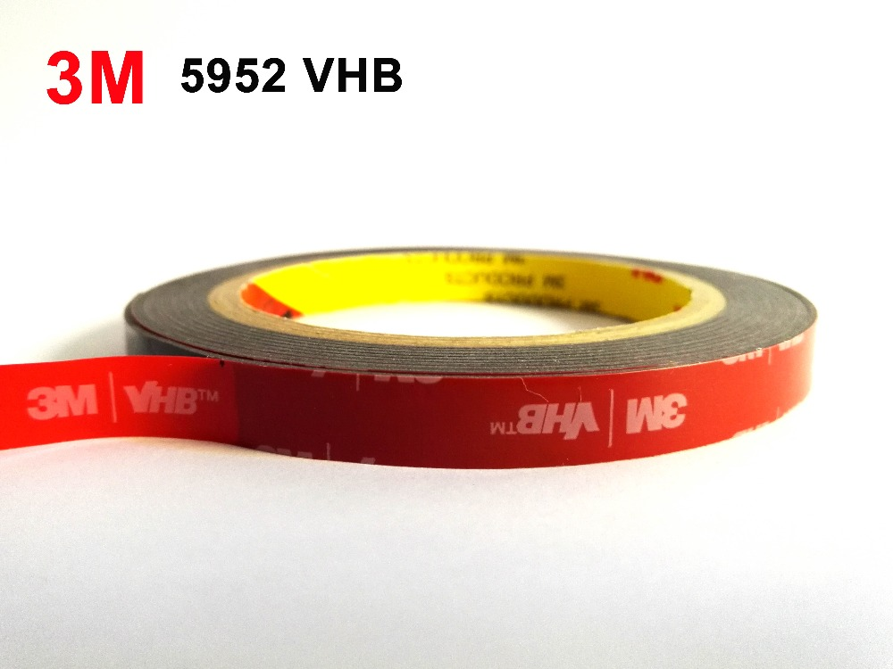3M VHB 5952 Black Heavy Duty Mounting Tape Double Sided Adhesive Acrylic Foam Tape 20mmx3Mx1.1mm thickness 1piece 3m vhb 5952 heavy duty double sided adhesive acrylic foam tape black 150mmx100mmx1 1mm