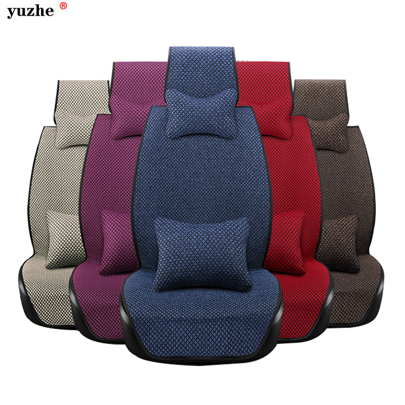 Linen Fabric Universal Car Seat Cover Set Red Car Styling Fit Most Car Interior Accessories Sedans Seat Covers for Car Care kkysyelva universal leather car seat cover set for toyota skoda auto driver seat cushion interior accessories