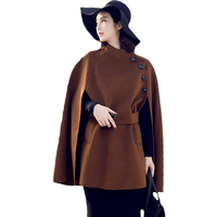 2018 Autumn Winter New Fashion Fringe Women's Woolen Coat Poncho Woman Cloak Clothing British Hepburn Bat Shawl Trench Coat Z341