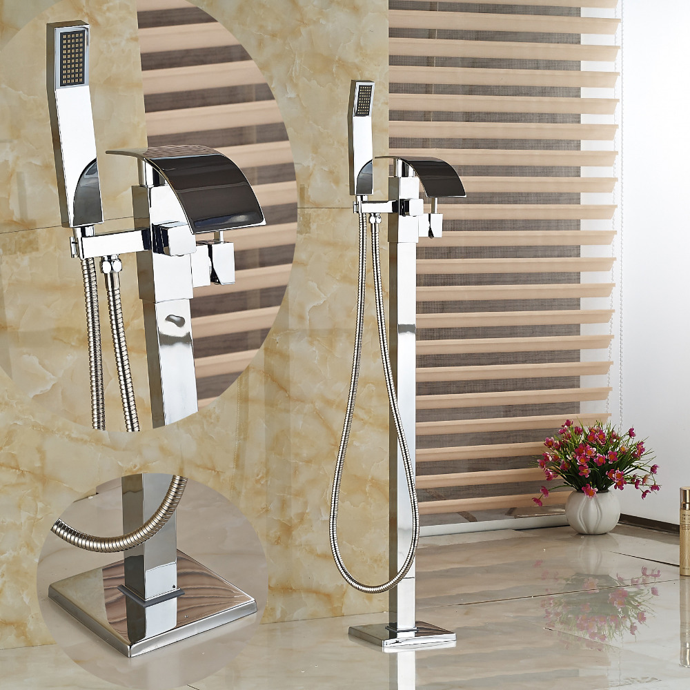 Floor Mounted Free Standing Waterfall Square Bathroom Tub Faucet W/ Hand Shower Bathroom Bath Filler Faucet Outdoor цена