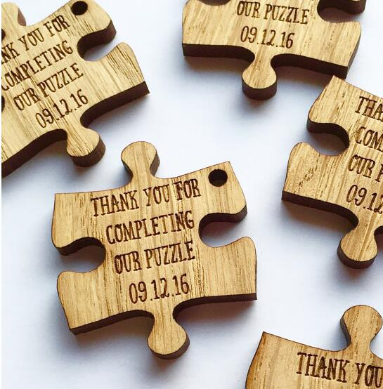 personalized puzzle pieces wooden rustic wedding new year gift favor tags labels party bridal shower decor inserts in party diy decorations from home