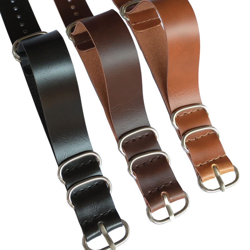 Buy 2 Get 20% OFF) Nato black Brown Ring Buckle 18mm Watchbands Men Women Casual Watches Strap Wristwatch Band zulu Leather