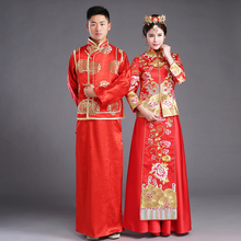 Chinese traditional Bride clothing pratensis style wedding dress female dragon gown slim cheongsam couple red evening robe