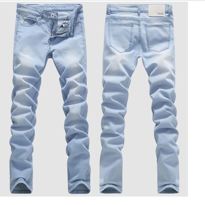 Good Quality Light Blue Short Jeans Men Spring Summer Slim Denim Jeans Men Cotton Elastic Denim Pants Cowboy Trousers