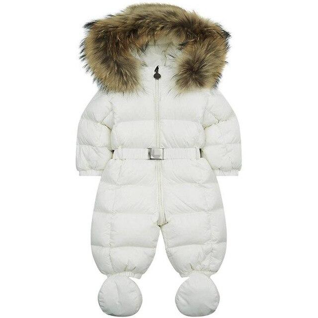 Зимой ребенка snowsuit новорожденный теплый утиный 100% настоящее енота с капюшоном детской ребенка девушки парни боди