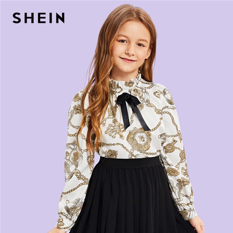 цена SHEIN Kiddie Frill Stand Collar Mixed Print Elegant Girls Blouses 2019 Spring Long Sleeve Cute Tee Shirt Teenager Kids Clothing