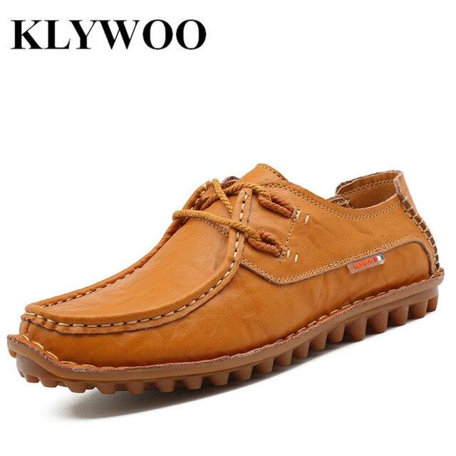 KLYWOO Марка Мода Дышащая Мужчины Повседневная Обувь Мягкие Из Натуральной Кожи Мужчины Квартиры Обувь Мокасины Вождения Обувь Мужчин Бездельников
