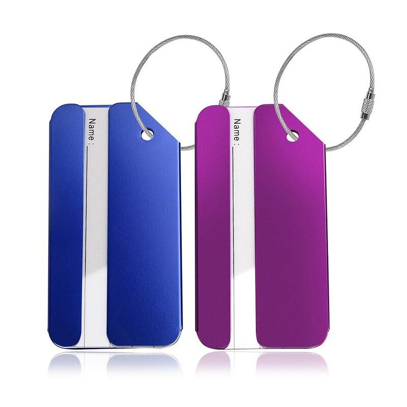 2 шт. багаж label в форме прямоугольника Туристические товары из металла, синий + фиолетовый