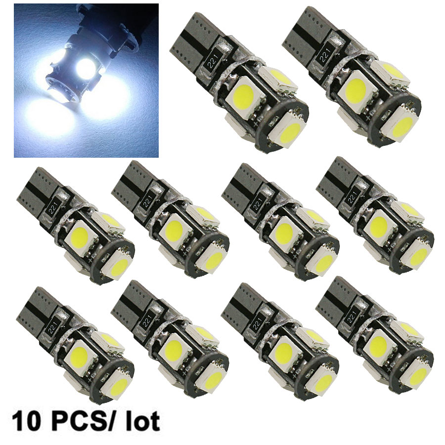 10PCS High Quality T10 CANBUS 5SMD 5050 194 W5W 501 5050 5SMD LED White Car Side Tail Light Bulb T10 Led Canbus W5w Led Canbus new t10 6 smd 5050 194 w5w 501 led car light colourful led canbus error interior light bulb remote control dc 12v