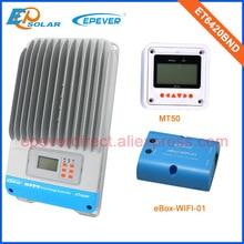 Controlador de cargador MPPT 12 V/24 V/36 V/48 V funcionamiento automático ET6420BND 60A regulador EPEVER Wifi caja MT50 Metro batería de carga EPSolar