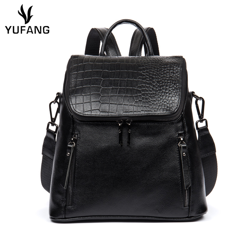 Yufang Women Backpack Casual Genuine Leather Daily Bagpack Black Color School Bag For Girl Teenager Zipper Cowskin Travel Bag
