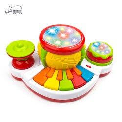 SHUNHUI bebé instrumento Musical mano Jazz tambor Piano juguetes niños luz historia música teclado juguetes de aprendizaje regalo para niños