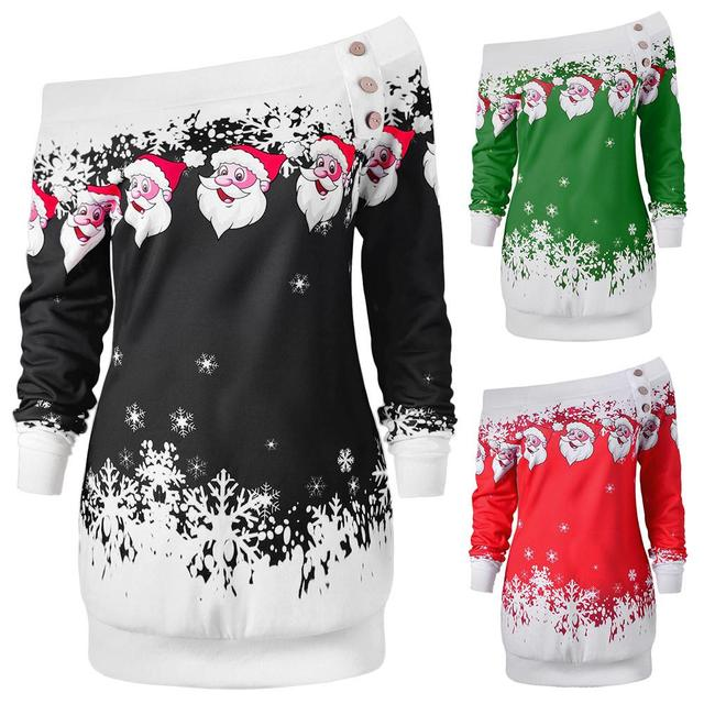 3c9f24311f2 Christmas New Style Women Girls One-Shoulder Dress Snowflake Santa Claus  Shirt Top Off Shoulder