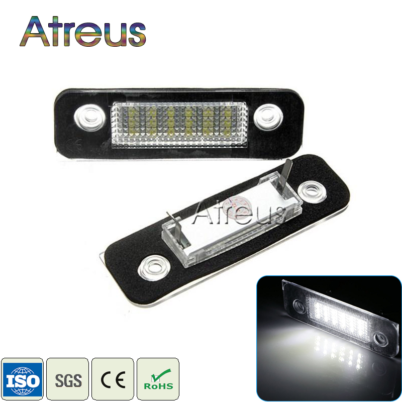 Car LED License Plate Lights 12V For Ford Mondeo MK2 Fiesta Fusion Accessories No Error White SMD LED Number Plate Lamp Bulb Kit купить