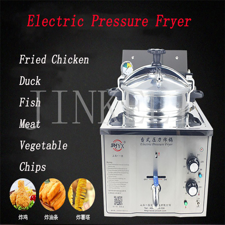 free ship Jinkeli 3000w Chicken Pressure fryer Commercial Electric Deep fryer 16L Stainless steel Table top Duck Pressure fryer