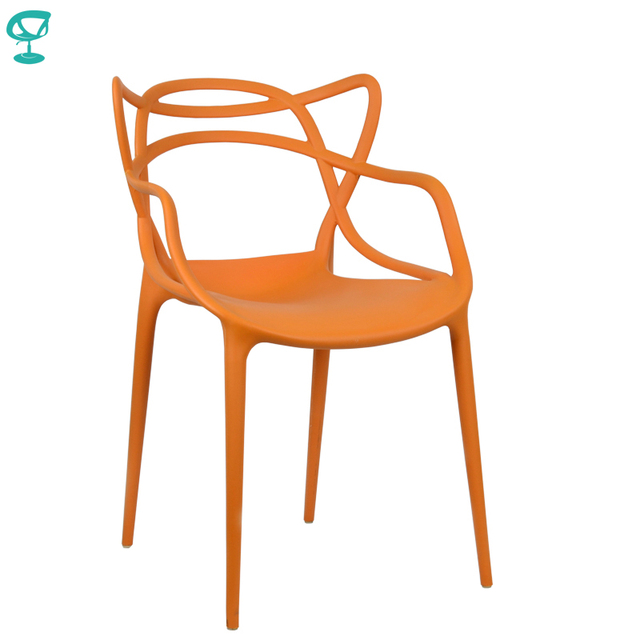 94977 Barneo N-221 Plastic Kitchen Interior Stool Chair for a Street Cafe Chair Kitchen Furniture Orange free shipping in Russia
