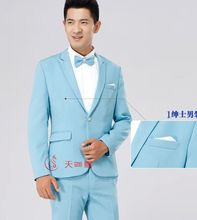 free ship mens plain light blue/beige/wine red/black/grey tuxedo suit/event/stage performance, jacket with trousers