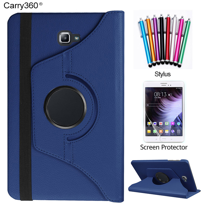 Case for Samsung Galaxy Tab A 10.1 2016 SM-T580 SM-T585, Carry360 360 Degrees Rotating Stand Tablet Cover + Screen Protector 100pcs lot luxury 360 degrees rotating stand pu leather flip case cover for samsung galaxy tab a 10 1 t580 android tablet t580