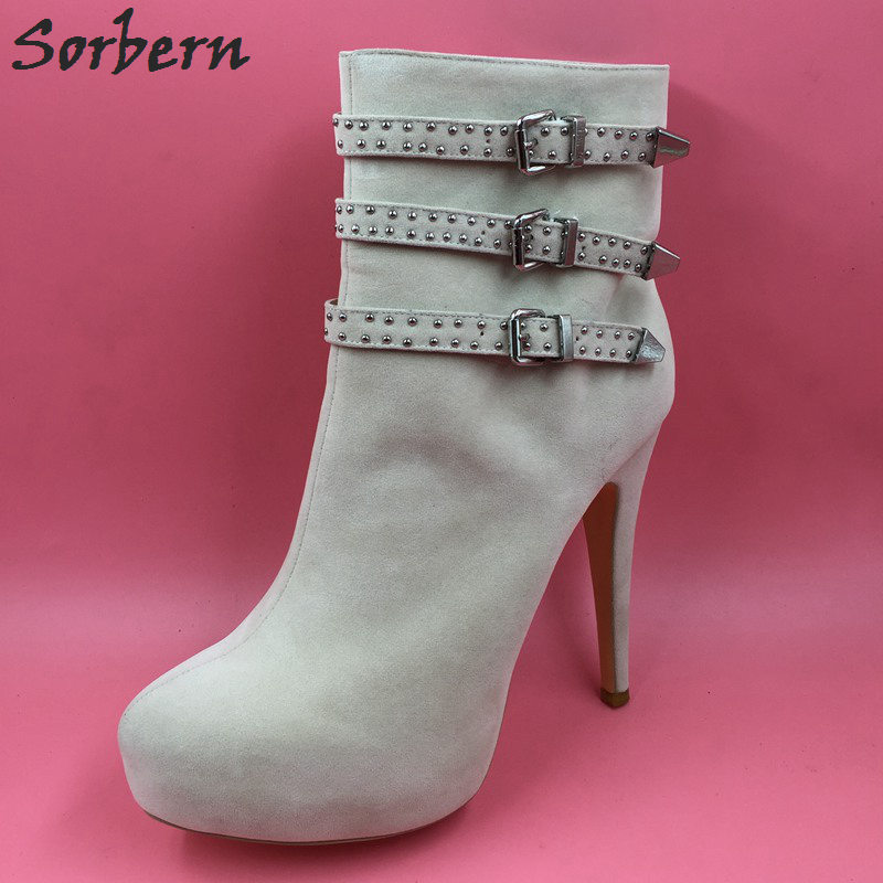 Sorbern Beige Ankle High Women Boots Thin High Heels Platform Shoes Winter Women Round Toe Custom Plus Size 43 Short Boots Lady kemekiss winter women round toe ankle boots high heels lace up shoes double buckle platform short martin booties size 33 43