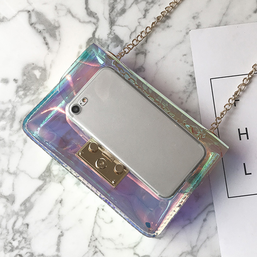 2018 New Holographic Laser Small Clutch Crossbody Bags Lady Transparent Handbag Fashion Design Women Messenger Bags new brand design chains mini crossbody bags for girl women handbag solid transparent clear diamond lattice messenger beach bags