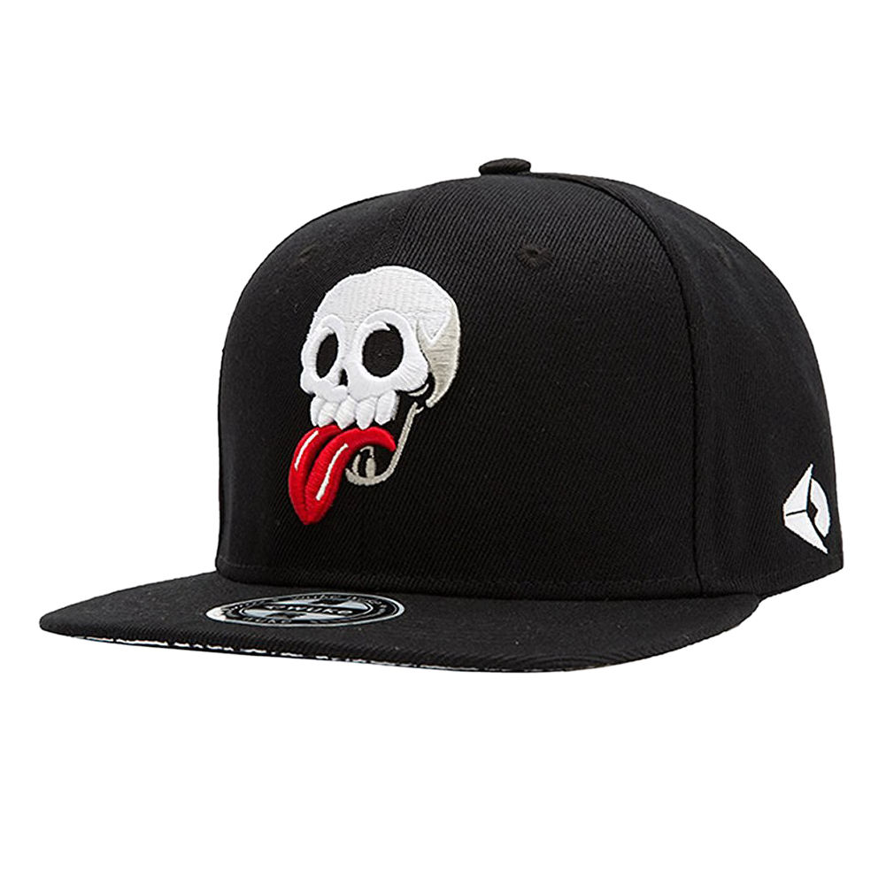 Embroidery Snapback, Baseball Hat Flat Brim Hip Hop Caps, Black Skull head pattern solar battery powered butterfly random color