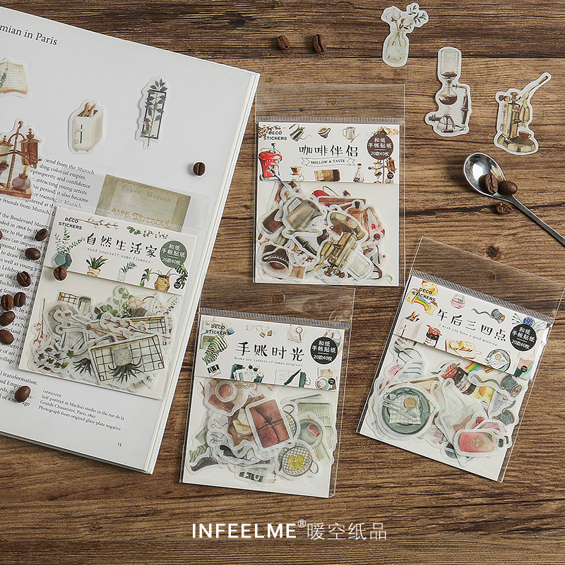 40pcs/pack Coffee Tea Plant Decorative Stickers Scrapbooking Stick Label Diary Bullet Journal Stickers Stationery Album Stickers