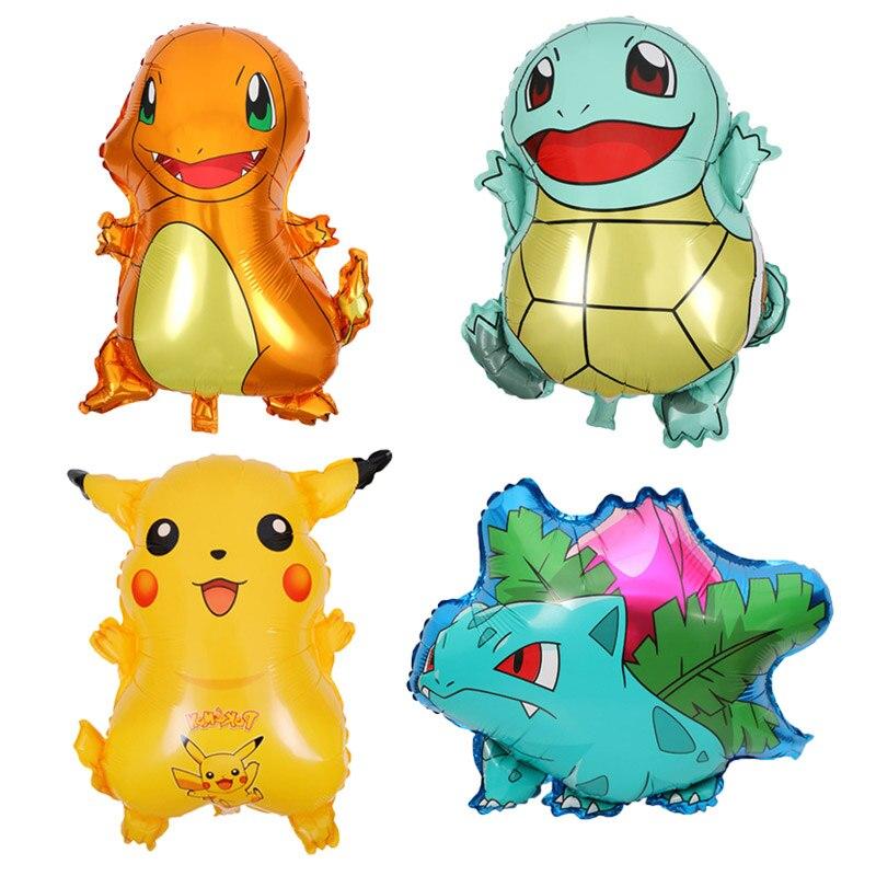 50 unids/lote de dibujos animados Pokemon Pikachu globos de papel de aluminio de los niños fiesta de cumpleaños de Digimon globo suministros de decoración de regalo para los niños-in Globos y accesorios from Hogar y Mascotas    1