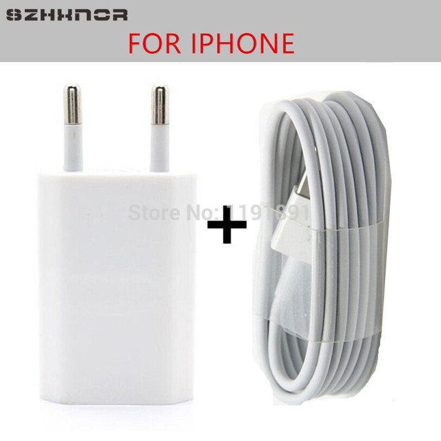 SZHXNOR EU Plug Travel USB Wall Charger for iPhone 5 5s 6 6s 7 X plus ipod + 8 pin Data Sync USB cable wire For IOS 10 11