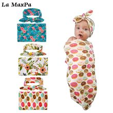 2Pcs Set Flower Blanket+Headband Newborn Fashion Baby Swaddle Blanket Sleeping Muslin Wrap Headband