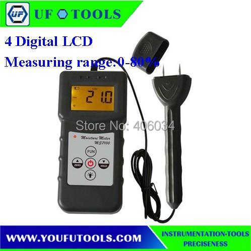 MS7100 Digital Pin Moisture Meter 0-80%/ For  wood ,Timber,paper,Bamboo,Carton  цены