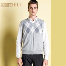 High Quality 100% Cashmere Mens V Neck Sleeveless Argyle Sweater Vest 2017 New Fashion