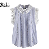 SheIn Contrast Scallop Lace Trim Pinstripe Blouse Cute Lapel Tops Summer Color Block Zipper Back Shirt