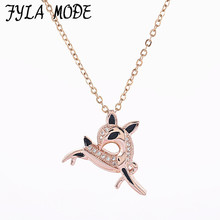 Fyla Mode 2017 Cute Enamel Micro Pave Zircon Antelope Pendant Necklace 100% Copper Necklace Jewelry For Men Women Fine Quality