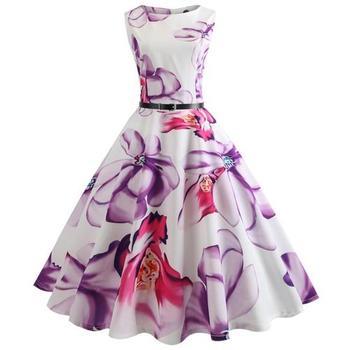 Vestidos De Fiesta vestido De mujer verano elegante flor sin mangas vestido Sexy mujer vestido De mujer estilo bohemio fajas para traje De baile Vestidos