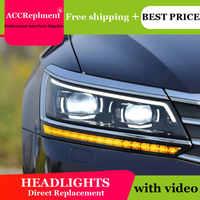 Auto Styling voor VW Passat Koplampen 2016-2017 LED Koplamp Lens Dubbele Beam H7 HID Xenon bi xenon lens dag licht running