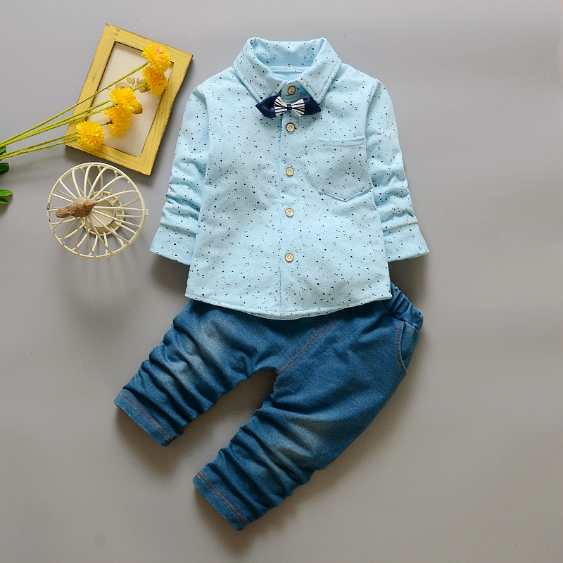 UPMSO2017 new cute baby boy gentlemen suit dots fashion bowknot T-shirt + jeans baby long-sleeved baby sportswear suit